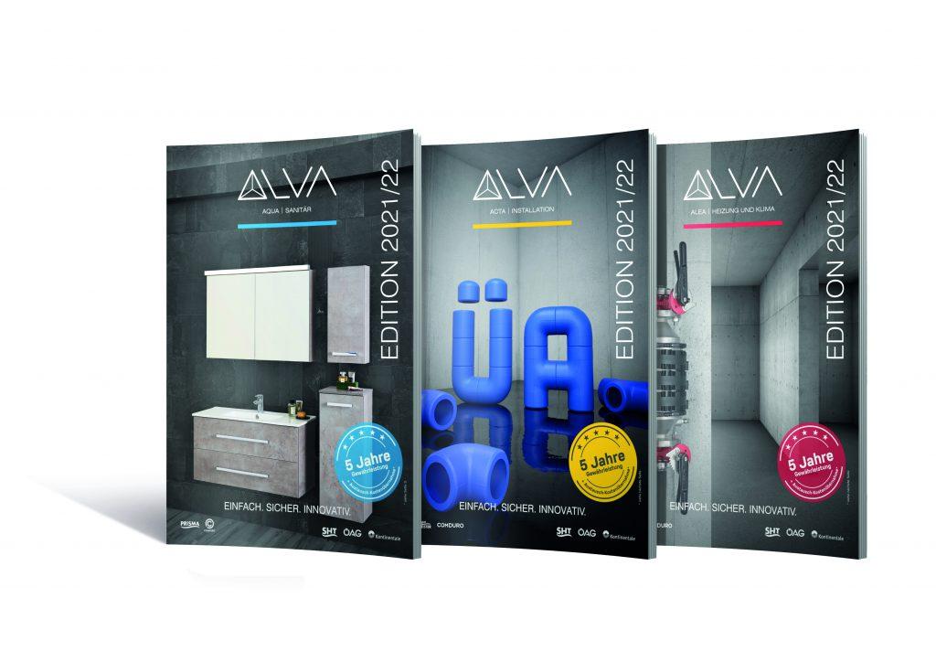 Die neuen ALVA Kataloge für 2021/22: AQUA Sanitär, ACTA Installation und ALEA Heizung und Klima kommen mit dem ALVA Qualitätsversprechen!